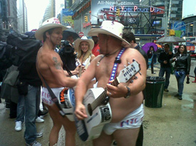 Naked Cowgirl and Naked Cowboy with Larry the Cable Guy